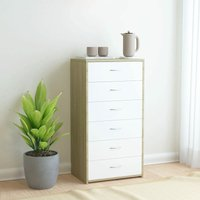Zqyrlar - Sideboard with 6 Drawers White and Sonoma Oak 50x34x96 cm Chipboard - Multicolour