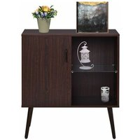 Zqyrlar - Sideboard with glass and metal handle,Retro storage cabinet,Simple cupboard