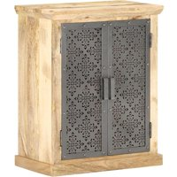 Sideboard with Steel Doors 60x35x75 cm Solid Mango Wood - Black - ZQYRLAR