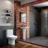 Aztec Bathroom Suite Close Coupled Toilet and Basin 560mm - 1 Tap Hole - Signature