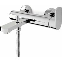Signature Plavis Wall Mounted Single Lever Bath Shower Mixer Tap with Shower Kit - Chrome