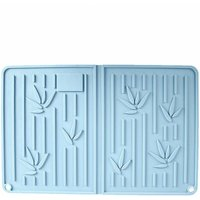 Briday - Silicone Drying Mat Dish Drainer Mat Heat Resistant Non-slip With Brush Dish Mat for Tableware Cup Kitchen Counter 35 * 23cm Blue