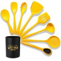 Silicone Kitchenware Set 8Pcs Kitchen Utensils Set Silica Gel Cooking Utensils Set Heat Resistant Kitchen Tools with Storage Barrel,model:Yellow