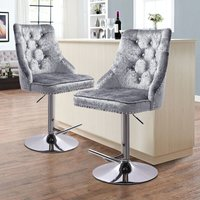 Silver Grey Dining Chairs Velvet Fabric Kitchen Dinner Breakfast Bar Table Stool - LIVINGANDHOME