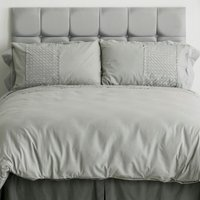 St Textiles - Silver Lace King Size Duvet Cover Embroidered Bedding Bed Set