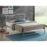 Silver Wave Metal Bed Frame - Double 4ft 6