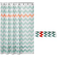 Simple Wave Geometric Shower Curtain Set (Bath Mat + Shower Curtain) Green 50x80cm Bath Mat + 180x180cm Ride - YOUTHUP