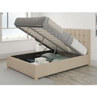 Sinatra Ottoman Upholstered Bed, Kimiyo Linen, Beige - Ottoman Bed Size Single (to fit mattress size 90x190)