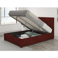 Aspire - Sinatra Ottoman Upholstered Bed, Kimiyo Linen, Bordeaux - Ottoman Bed Size Superking (180x200)