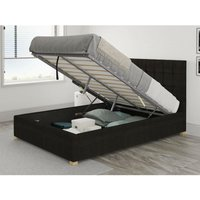 Sinatra Ottoman Upholstered Bed, Kimiyo Linen, Charcoal - Ottoman Bed Size Single (to fit mattress size 90x190)