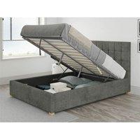 Aspire - Sinatra Ottoman Upholstered Bed, Kimiyo Linen, Granite - Ottoman Bed Size Double (135x190)