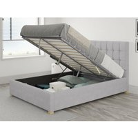 Sinatra Ottoman Upholstered Bed, Kimiyo Linen, Silver - Ottoman Bed Size Single (to fit mattress size 90x190)