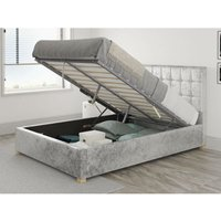 Aspire - Sinatra Ottoman Upholstered Bed, Mirazzi Velvet, Silver - Ottoman Bed Size Single (to fit mattress size 90x190)
