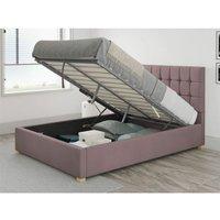 Sinatra Ottoman Upholstered Bed, Plush Velvet, Blush - Ottoman Bed Size King (150x200)