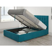 Sinatra Ottoman Upholstered Bed, Plush Velvet, Teal - Ottoman Bed Size Superking (to fit mattress size 180x200)