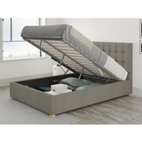 Sinatra Ottoman Upholstered Bed, Saxon Twill, Grey - Ottoman Bed Size Single (to fit mattress size 90x190)