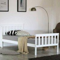 Single Bed Frame Solid Wooden Frame 199x98x82cm White - INSMA