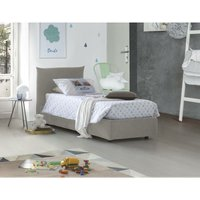 Single bed with removable container Pink Front Opening Container Made in Italy Cream - TALAMO ITALIA