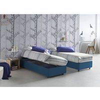 Single bed with removable container Front Opening Container Silvia Bed Base Made in Italy Blue with Mattress - TALAMO ITALIA