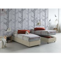 Single bed with removable container Front Opening Container Silvia Bed Base Made in Italy Cream with Mattress - TALAMO ITALIA