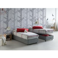 Single bed with removable container Front Opening Container Silvia Bed Base Made in Italy Grey with Mattress - TALAMO ITALIA