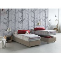 Single bed with removable container Front Opening Container Silvia Bed Base Made in Italy Turtledove with Mattress - TALAMO ITALIA