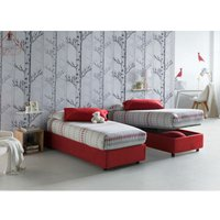 Single bed with removable container Front Opening Container Silvia Bed Base Made in Italy Red with Mattress - TALAMO ITALIA