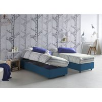 Single bed with removable container Silvia Bed Base Side Opening Container Made in Italy Blue with Mattress - TALAMO ITALIA