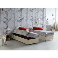Single bed with removable container Silvia Bed Base Side Opening Container Made in Italy Cream with Mattress - TALAMO ITALIA