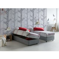 Single bed with removable container Side Opening Container Silvia Bed Base Made in Italy Grey with Mattress - TALAMO ITALIA