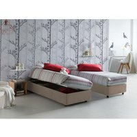 Single bed with removable container Lateral opening container Silvia Bed Base Made in Italy Turtledove with Mattress - TALAMO ITALIA