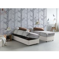 Single bed with removable container Side Opening Container Silvia Bed Base Made in Italy White with Mattress - TALAMO ITALIA