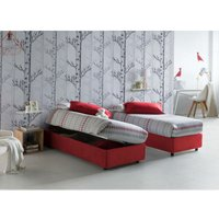 Single bed with removable container Silvia Bed Base Side Opening Container Made in Italy Red with Mattress - TALAMO ITALIA