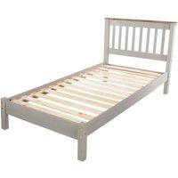 Single Grey Washed 3 Slatted Low End Solid Pine Bedstead Bed Frame With Slats