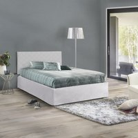 Set Square And 1/2 Headboard In White Eco-Leather With Base 120X190 And Valance + Memory Mattress, White - TALAMO ITALIA