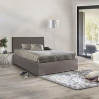 Headboard Set Square And 1/2 In Taupe Faux Leather W / Base 120X190 And Taupe Valance + Memory Mattress - TALAMO ITALIA