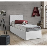 Set Single Head In White Eco-Leather With Orthopaedic Base 80X190 And Valance + Memory Mattress In White - TALAMO ITALIA