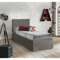 Single Headboard Set In Taupe Faux Leather With Base 80X190 And Taupe Valance + Memory Mattress - TALAMO ITALIA