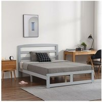 Single-Layer Bed Head and Three Horizontal Boards Grey 4FT6 Wooden Bed Pine Europe - Grey - Grey