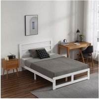 Single-Layer Bed Head and Three Horizontal Boards White 4FT6 Wooden Bed Pine Europe - White - White