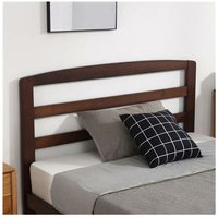 Single-Layer Bed Head and Three Horizontal Boards Walnut Color 4FT Wooden Bed Pine Europe