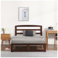 Single-Layer Bed Head and Three Horizontal Boards Walnut Color 4FT6 Wooden Bed Pine Europe