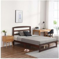 Single-Layer Bed Head and Three Horizontal Boards Walnut Color 5FT Wooden Bed Pine Europe
