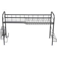 Single layer dish drainer drying rack,stainless steel dish rack kitchen countertop storage rack Black - Black