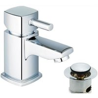 Single Lever Quarter Turn Chrome Bathroom Basin Sink Mixer Tap and Waste (ICE 1)