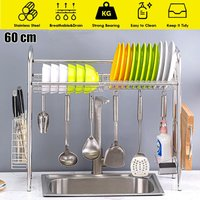 Single Tier Over The Sink Dish Drying Rack Holder Shelf Drainer Storage Organize(60CM 1 Tier)