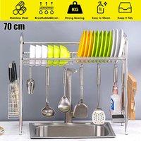 Single Tier Over The Sink Dish Drying Rack Holder Shelf Drainer Storage Organize(70CM 1 Tier)