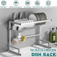 Sink Drainer Dish Drying Rack Kitchen Shelf Storage Basket Counter Space Saving Shelf Stainless Steel Storage Display Rack (65cm)