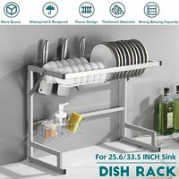 Sink Drainer Dish Drying Rack Kitchen Shelf Storage Basket Counter Space Saving Shelf Stainless Steel Storage Shelf (85cm)