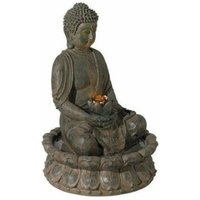 Sitting Buddha Water Feature Decoration with LED Light - Bronze 40cm - Bronze - Evre
